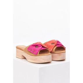Sandalias De Mujer Clara Barcelo Toco Madera Coral