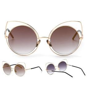 e73f731fb425e Óculos De Sol Gatinho Redondo Marrom It Girl - Óculos no Mercado ...