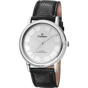 Relógio De Pulso Feminino Couro Preto/prata Champion Romano