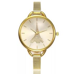 Reloj Geneva Mujer Malla Metalica Torre Eiffel