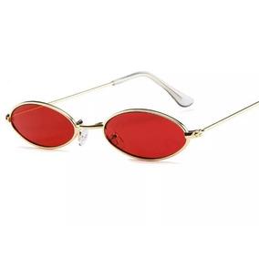 c494e68d2f450 Óculos Sol Oval Pequeno Trap Hype Retro Vermelho Unissex