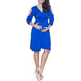 Vestido Gestante Liso Manga Azul Para Grávida