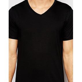 19e3e1713fb67 Camisetas Negras Cuello V - Camisetas de Hombre en Mercado Libre ...