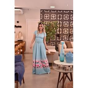 Vestido Moda Evangélica Longo Suplex Digital Premier Debora
