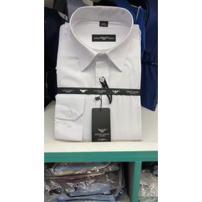 e7ef188d34f Camisa Social Masculina Armani Listras Finas Corte Reto Azul