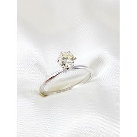 Anel Solitario Moderno Ouro Branco Com Diamante 60 Pontos
