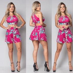 Cropped Top Conjunto Top + Shorts Viscolaycra Com Bojo Verão