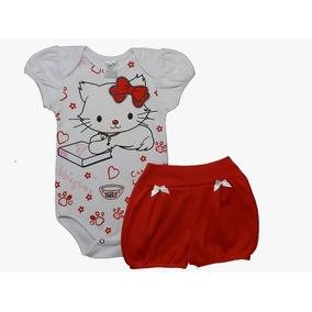Roupa Bebê Conjunto Body E Shorts Gatinha Menina Verão