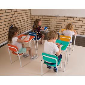 Mesa Infantil Com Porta Livros E Cadeira Empilhável