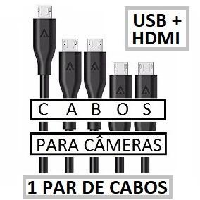 1 Par De Cabos ( Hdmi + Usb ) Para Câmera Sony Alpha A6500