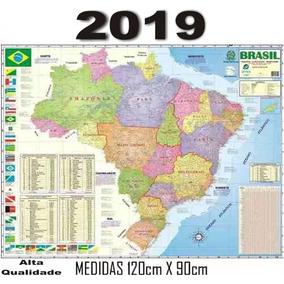 Mapa Brasil Politico Estatístico Rodovia 120x90 Cm - 2019