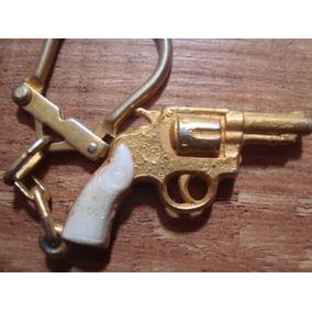 Chaveiro Miniatura Revolver Magnum Taurus Dourado Eberle