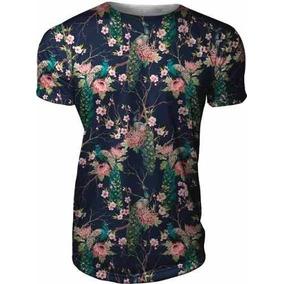 Camisa Camiseta Masculina Slim Reta Azul Floral Pavao Vanit f3052b4b43fcd