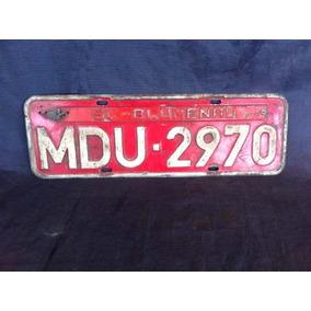 Placa Carro Lacrada Mdu 2970 Blumenau Antiga Vermelha