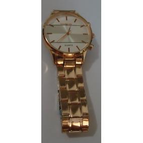 Relógio M K Mostrador Prata Pulseira Série Ouro Rosê