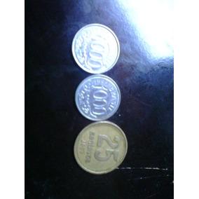 2 Moedas De 1000 Cruzeiros E 1 De 25 Centavos Da Argentina