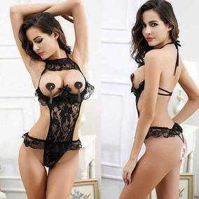 5a8998dd0dee8 Body Teddy Preto Sexy Renda Seios Nus E Aberturas - Lingerie no ...