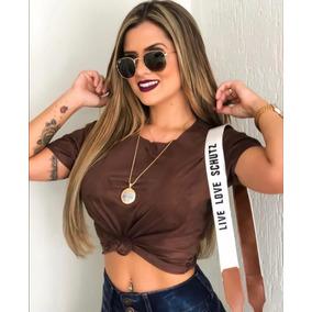 Blusa Com Nó Suede Amarrar Feminina Tshirs Camurça Blusinha
