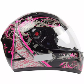 Capacete Feminino Mixs Fokker Racing Girls - Preto E Rosa