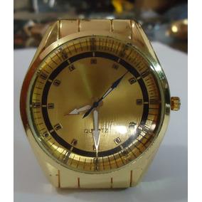 Relógio Feminino Dourado Strass Pulseira Série Ouro