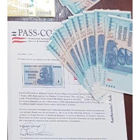 Zimbabwe Azul 100 Trilhoes Com Passco
