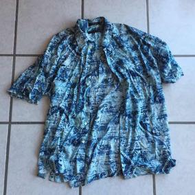 Camisa Hawaiana Geoffrey Beene Original Azul Aqua L