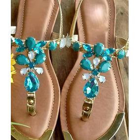 Sandália Em Pedraria Azul
