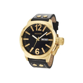 Relógio Magnum Masculino Preto Ma31524u Dourado