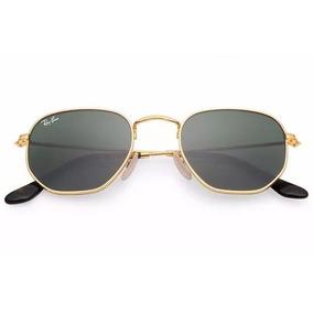 Óculos De Sol Ray Ban Hexagonal Dourado   Lente Verde Rb3548 499bda7386