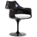 Cadeira Saarinen C/braço E Almofada Couro Ecológico Branco