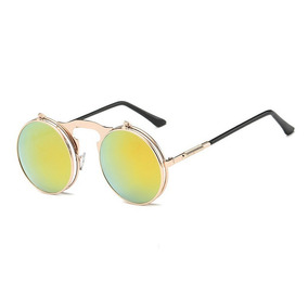 2fb233989a8de Óculos Sol Redondo Retrô Flip Duplo Steampunk Collor Dourado