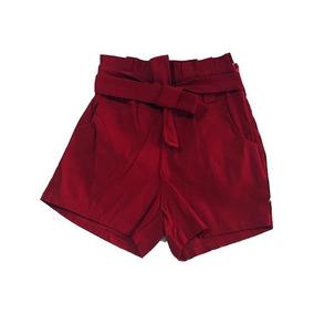 Shorts Cintura Alta Feminino Bengaline Shortinho Laço Roupas