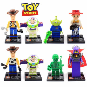 Kit Toy Story 8 Bonecos Lego Woody Buzz Zurg Jessie Alien