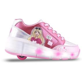 Zapatillas Footy Barbie Con Ruedas Luces Led Usb Mundomanias