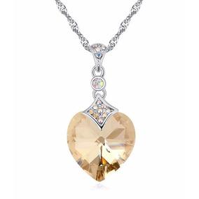 Collar Crystallized Para Dama Piedra Color Ambar Certificado