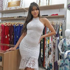 Vestido Midi Renda Elastano Babado Gola Alta Chique Vr200
