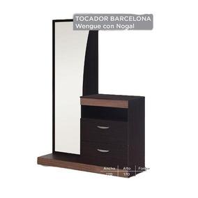 Tocador Modelo Barcelona - Chocolate Con Nogal Këssa Muebles