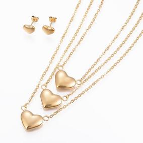 Joyería Acero Inoxidable, Collar 3 Niveles Corazón, Aretes