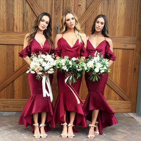 Sensual Casamento Dama De Honra Vestido Bainha Vestido Com F