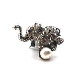 Anillo Elefante Con Perla (ajustable)