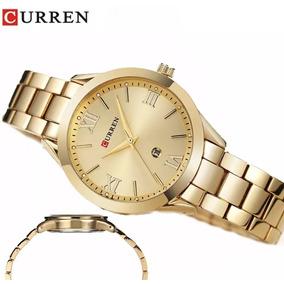 Relógio Feminino Quartzo Curren Com Calendário Gold E Rose