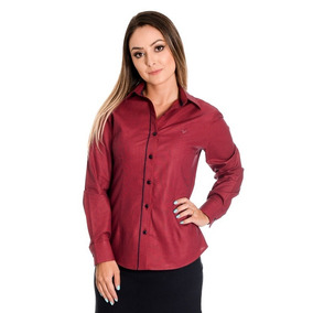 99521f0e47 Camisa Social Feminina - Camisa Social Manga Longa Feminino Vermelho ...