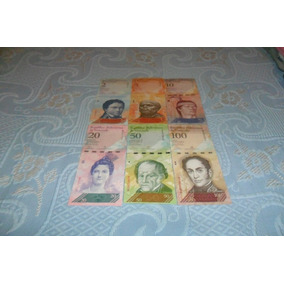 Série Com 6 Cédulas Fe Da Venezuela, Sendo 2,5,10,20,50, E 1