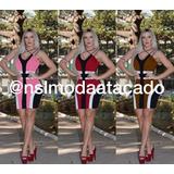 Vestido Feminino Bicolor Alcinha Modelo O Corpo Justo