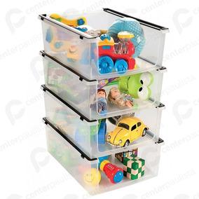 4 Caixas Organizadora Sapato Brinquedos Multiuso Empilhável