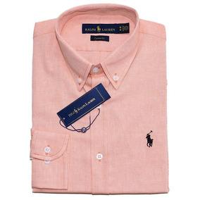 9a0b891cb89c6 Camisa Social Ralph Lauren Cst Fit Salmão Pony Azul Oxford