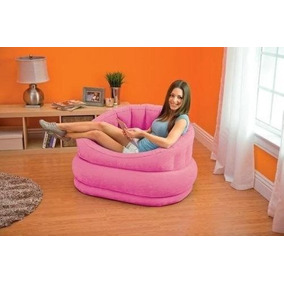 Poltrona Inflável Intex C/ Almofada - Lounge - Puff Rosa