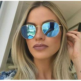 97294633e567a Óculos Azul Estiloso De Sol Verão Praia Espelhado Moda Retro