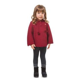 Poncho Com Capuz Infantil Menina Tricô Vermelho Milon-1