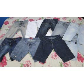 Lote 9 Peças Shorts Jeans Feminino Usado 40/42 Roupa Kit